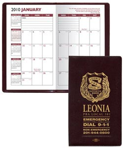 Custom Monthly Planner, Personalized in Bulk, Burgundy, Navy, Hunter Green, Black.