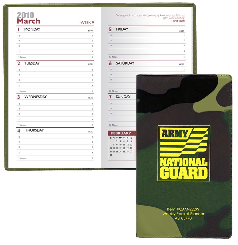 cheap custom camo weekly planners personalized in bulk promotional