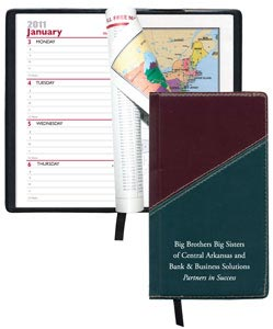 Promotional Hard Cover Weekly Planner w/ Ribbon, Blue, Green, Burgundy
