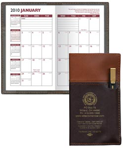 Personalized Monthly Planner w/ Pen, Brown and Chocolate w/ Gold Pen
