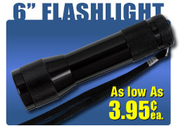 "Discount Customized Flashlight with strap 6""  long"