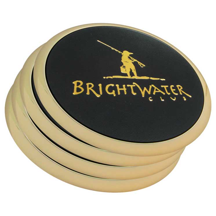 Brass Leather Coasters in Bulk, Personalized