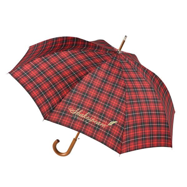 Walking Stick Umbrella, Personalized in Bulk, Red Plaid, Navy Blue, Black.