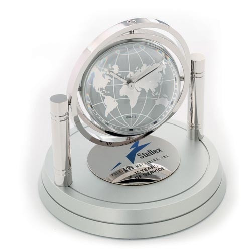 Personalized Globe Clocks, Custom Engraved. Siver Metal