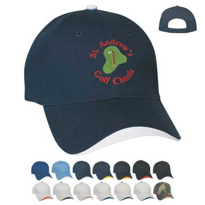 Wholesale Cotton Caps in Bulk with Wave Sandwich, Embroidered or Blank
