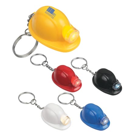Custom Hard Hat Light Keychain  Personalized, Yellow, Blue, Red, White or Black
