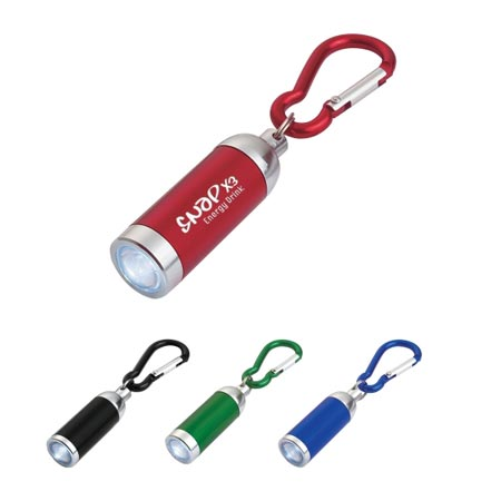 Personalized LED Flashlight Carabiner, Laser Engraved, Blue, Green, Red or Black