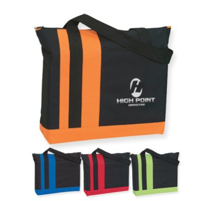 bulk black totes with 3 color stripes
