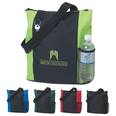 Custom Tote with Bottle Pocket Personalized, Royal Blue, Red, Black, Forest Green or Lime Green