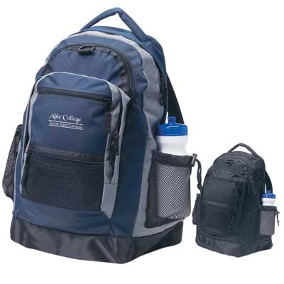 Wholesale Personalized Sport Backpacks in Bulk, Black or Navy with Gray trim