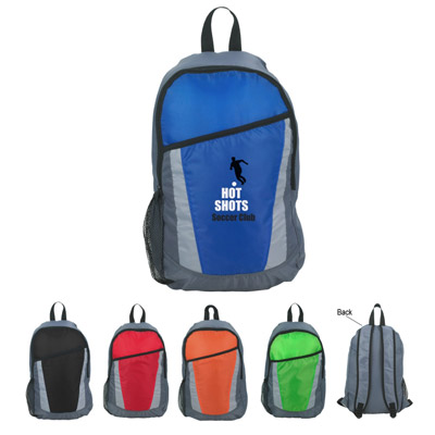 Zippered Backpacks, Royal Blue, Lime Green, Red, Orange or Black