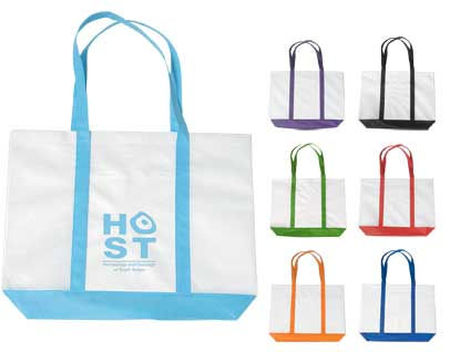 Bulk Budget Non Woven Bags, White with Red, Royal Blue, Kelly Green, Black, Orange, Purple or Carolina Blue Trim