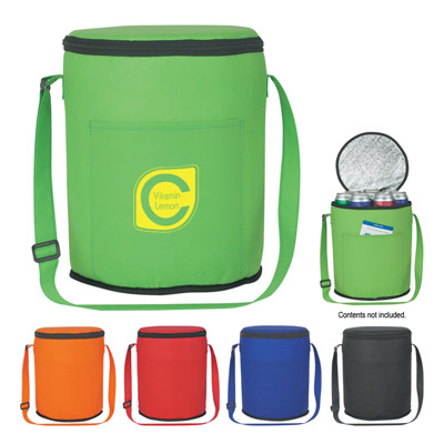 Custom Round Cooler Bags, Royal Blue, Lime Green, Red, Orange or Black