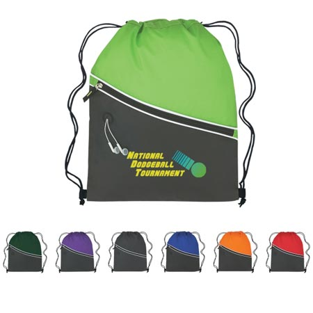 Custom Pocket Backpack Personalized, Black with Purple, Royal Blue, Lime Green, Black, Forest Green, Orange or Red