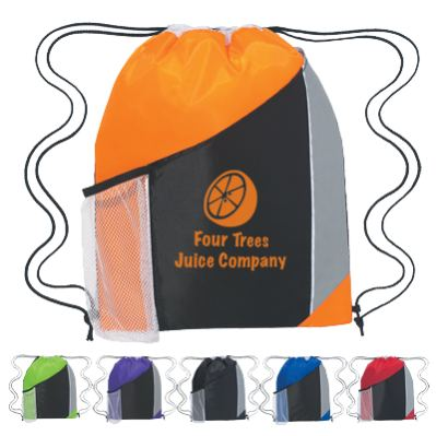 bulk drawstring nylon backpacks with mesh pockers, personalized