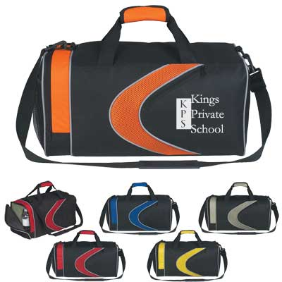 custom duffel bags in bulk, Red/Black, Yellow/Black, Royal Blue/Black, Orange/Black or Gray/Black