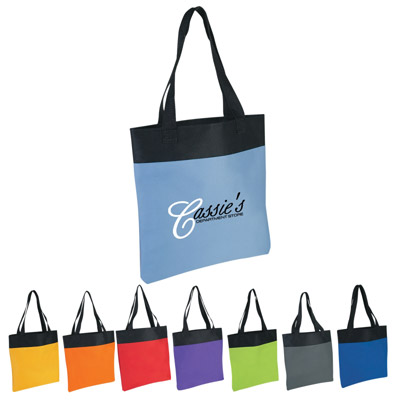 Custom Polyester Tote Personalized, Carolina Blue, Lime Green, Red, Yellow, Royal Blue, Gray, Orange or Purple