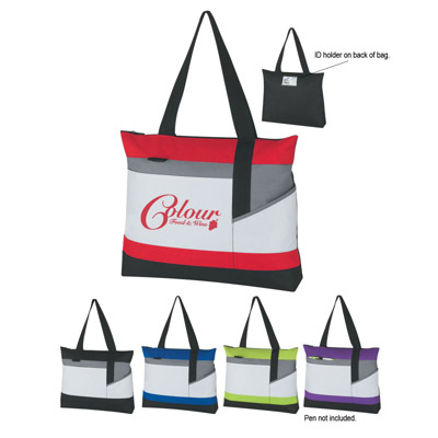 Custom Zippered Tote Bag Personalized, Black with Red, Lime Green, Royal Blue, Purple or Black