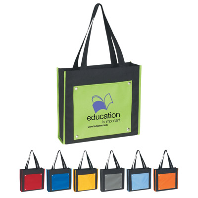Custom Vogue 600D Totes, Black with Yellow, Royal Blue, Orange, Lime Green, Red, Gray or Carolina Blue.