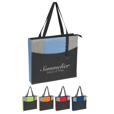 Custom Zippered Polyester Tote, Royal Blue, Lime Green, Carolina Blue, Orange or Red