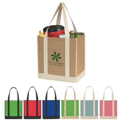 Customized Shopping Bags, Royal Blue, Red or Kelly Green, Tan, Kelly Green, Poppy or Light Blue