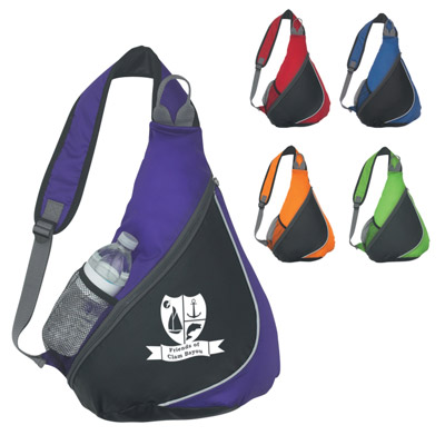 Sling Backpacks with Bottle Pocket Personalized, Red, Royal Blue, Orange, Lime Green or Purple