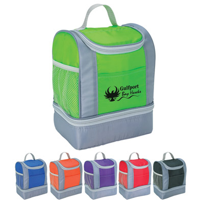Two Tone Lunch Bag Personalized, Royal Blue, Lime Green, Red, Orange, Black or Purple