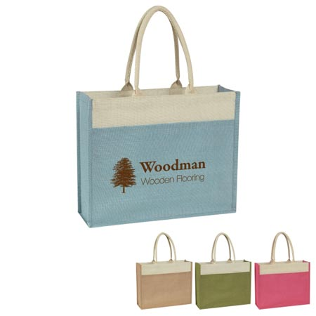 Custom Rope Jute Tote Personalized Beige, Light Blue, Green or Poppy