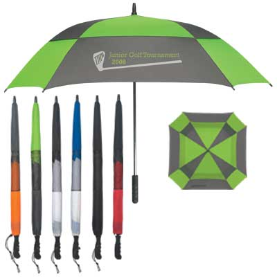 "Bulk 60"" Square Umbrellas, Personalized, Royal Blue/White, Red/Black, White/Black, Lime Green/Gray, Orange/Gray or Solid Black"