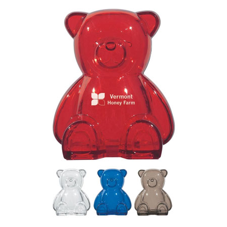 Custom Bear Bank Personalized Wholesale, Translucent Blue, Charcoal, Red or Clear.