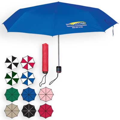 Promotional Telescopic Umbrellas, Solid: Green, Pink, Black, Royal Blue, Red or Khaki. Two Tone: Red/White, Black/White, Forest Green/White or Royal Blue/White