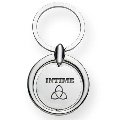 Wholesale Spinning Circle Metal Key Tags in Bulk, Personalized, Silver