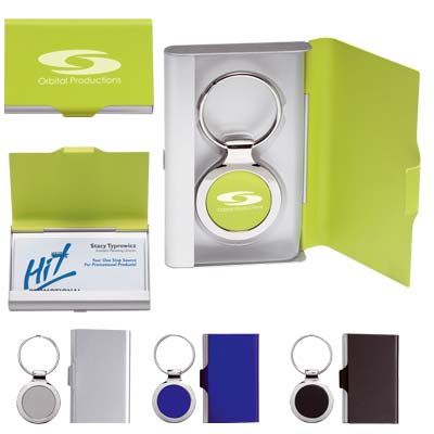 Wholesale Card Holder with Key Tag in Bulk, Personalized, Blue, Black, Silver, or Lime Green