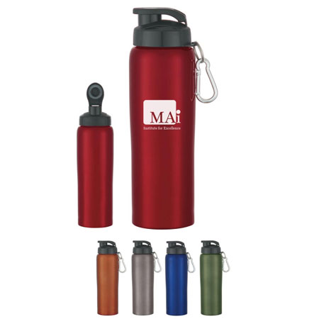 Custom 24 Oz. Stainless Steel Bottle Personalized Wholesale, Metallic Blue, Red, Orange, Green or Charcoal
