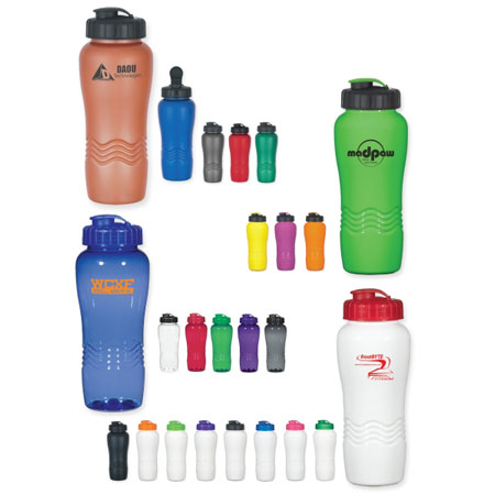 Custom 26 Oz. BPA Free Sports Bottle Personalized, Red, Lime Green, Neon Pink, Neon Orange, Black, Green, Blue or Purple