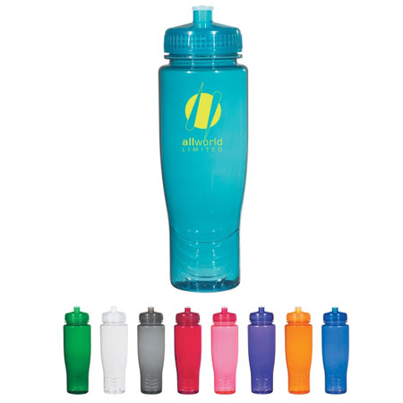 28 Oz. BPA Free Bottle with Push-Pull Lid Personalized Blue, Orange, Green, Charcoal, Aqua, Red, Purple, Clear or Pink