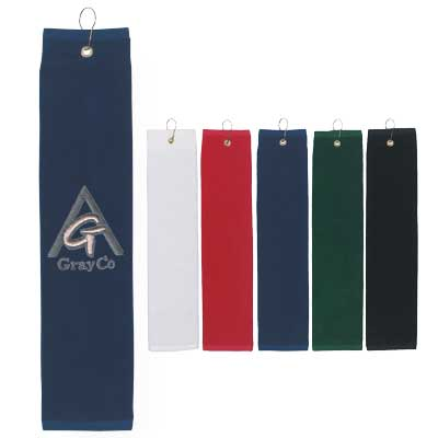 Custom Embroidered Golf Towels Embroidered in Bulk, White, Black, Forest Green, Red or Navy