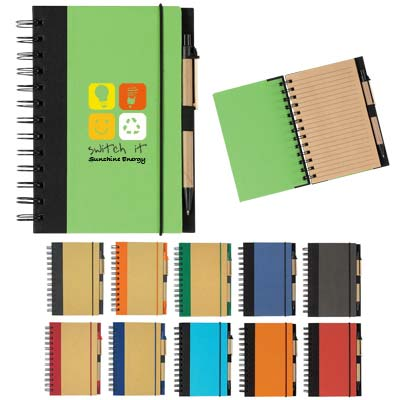 Cheap Personalized Recycled Notepads, Green, Blue, Light Blue, Charcoal, Red and Orange.