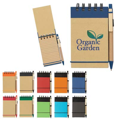 Custom Recycled Notebook and Pen Personalized Wholesale; Natural with Blue, Black, Green or Red Accents