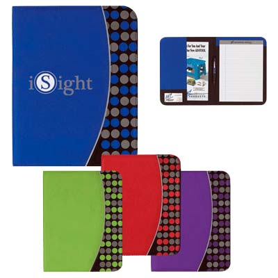 Wholesale Polka Dot Portfolio in Bulk, Personalized, Lime Green, Red, Royal Blue or Purple with Gray