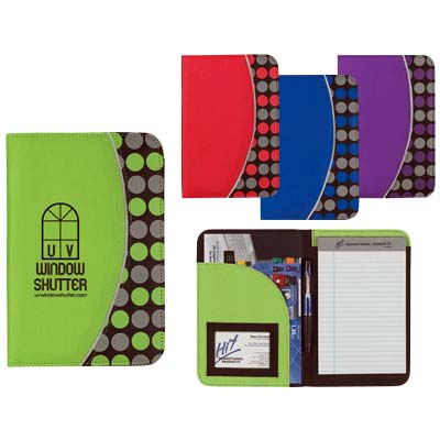 Wholesale Colorful Polka Dot Portfolio in Bulk, Personalized, Lime Green, Red, Royal Blue or Purple.