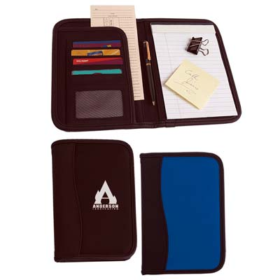 Wholesale Microfiber Portfolio in Bulk, Personalized, Black or Royal Blue, both with Black Trim.
