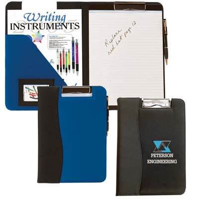 Wholesale Covered Clipboards  in Bulk, Personalized, Black or Royal Blue, both with Black Trim.