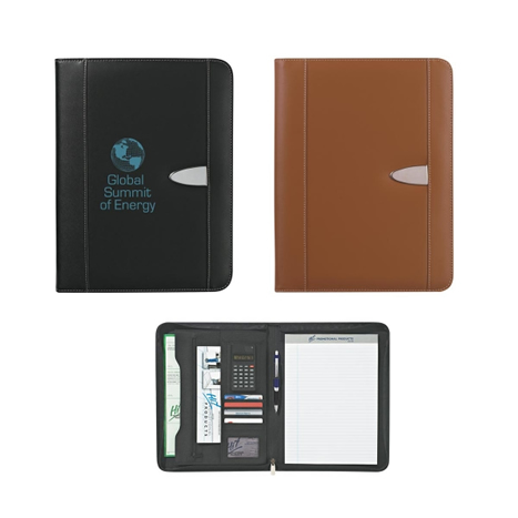 Custom Zippered Leather Portfolio with Calculator, Personalized with Debosing or Silk Screen. Black or Brown