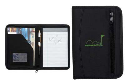 Wholesale Zippered Portfolios in Bulk, Personalized, Black.