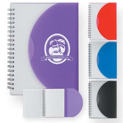 Wholesale Flap Spiral Notepad in Bulk, Personalized, Frosted: Purple, Red, Blue or Black.