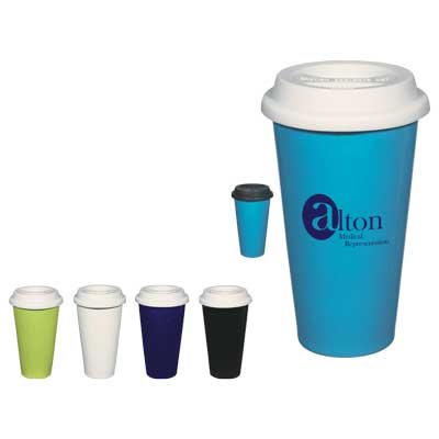 Wholesale Insulated Ceramic Mugs, Personalized, White, Cobalt Blue, Ocean Blue, Lime Green or Black