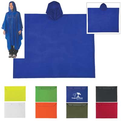 Wholesale Reusable RAin Ponchos in Bulk Royal Blue, Red, White, Black, Olive or Lime Green. Neon: Yellow or Orange