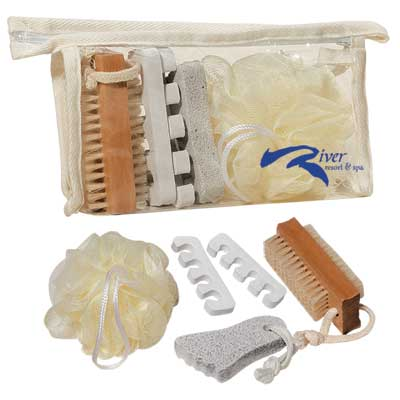 Discount Foot Care Kit in Bulk, Net Bath Sponge, Toe Separators, Foot-Shaped Pumice Stone And Two-Sided Nail Brush