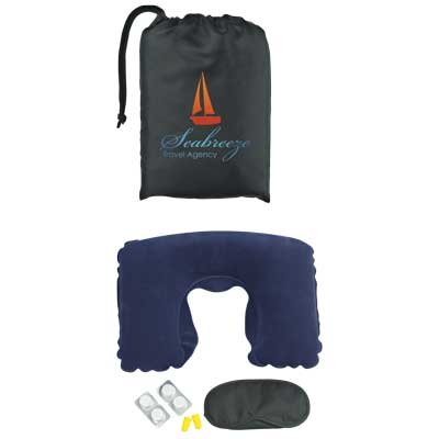 Bulk Travel Comfort Kit: Neck Pillow, Eye Mask, 4 Compressed Towels And Ear Plugs